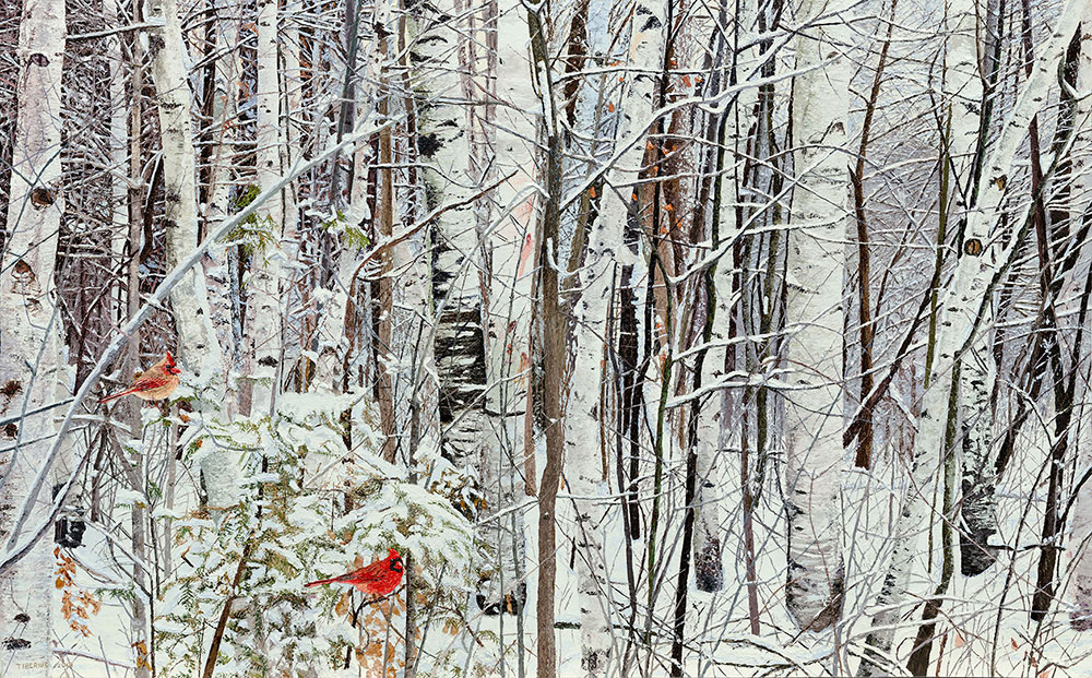 Birches in the Snow, with Cardinals (sold)  |  Richard G. Tiberius